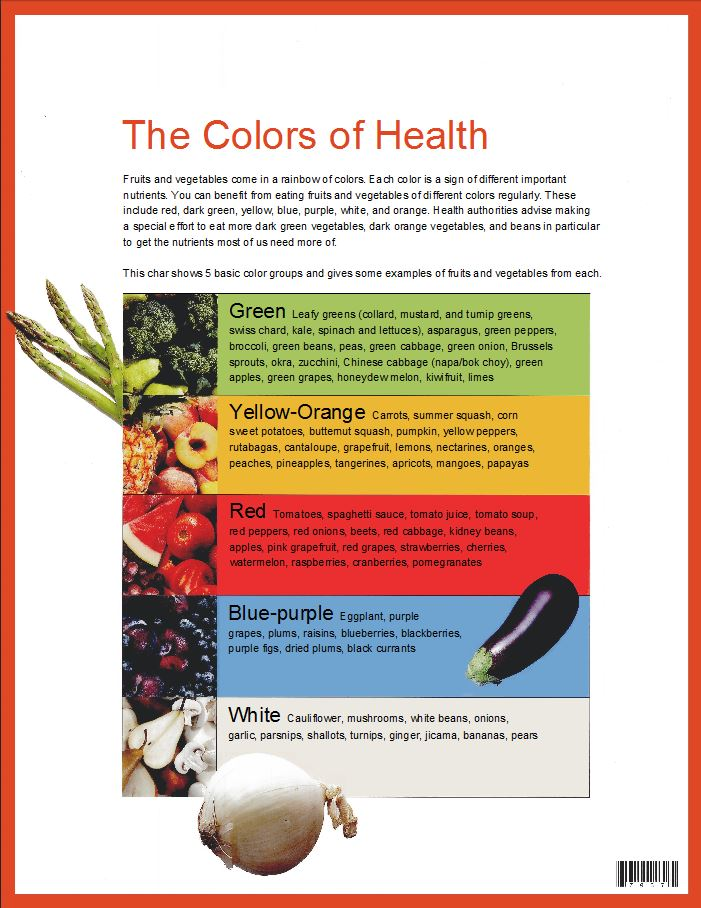 eating colors for health, colors of food, อาหารหลากสี, the colors of health
